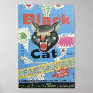 Fuegos artificiales del gato negro poster