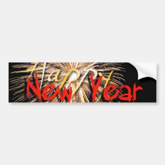 Fuegos artificiales en el rojo - Feliz Año Nuevo Etiqueta De Parachoque