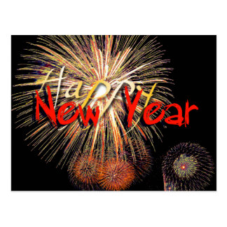 Fuegos artificiales en el rojo - Feliz Año Nuevo Tarjeta Postal