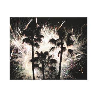 fuegos artificiales en la palma trees.jpg impresión en lienzo estirada