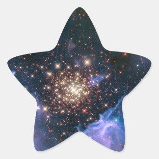 Fuegos artificiales en pegatina de la estrella del