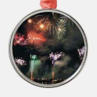 Fuegos artificiales espectaculares adorno navideño redondo de metal