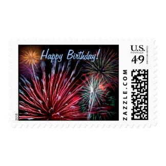 ¡Fuegos artificiales, feliz cumpleaños! Sello Postal