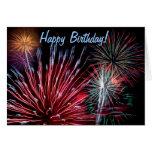 ¡Fuegos artificiales, feliz cumpleaños! Felicitacion