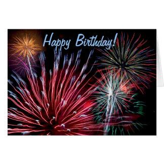 ¡Fuegos artificiales, feliz cumpleaños! Tarjeta De Felicitación
