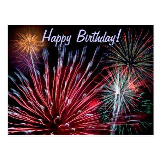 ¡Fuegos artificiales, feliz cumpleaños! Postal