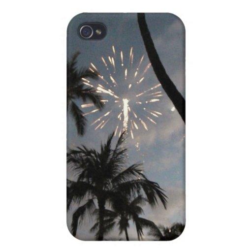 Fuegos artificiales hawaianos iPhone 4 carcasa