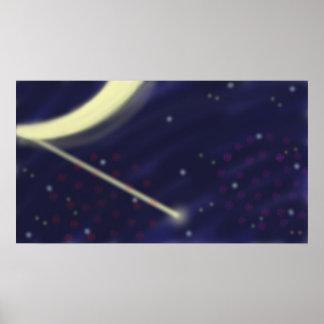 Fuegos artificiales, luciérnagas, y estrellas póster