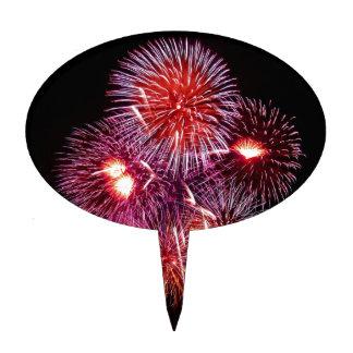 Fuegos artificiales patrióticos de los regalos del decoración de tarta