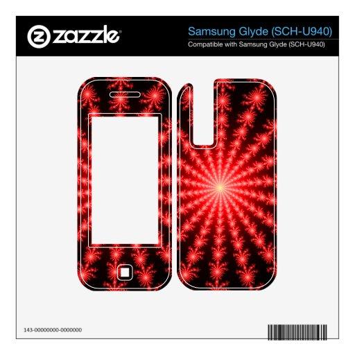 Fuegos artificiales rojos - diseño del fractal samsung glyde calcomanía