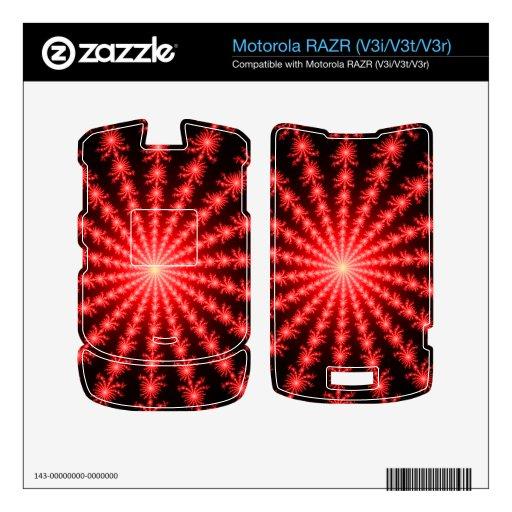 Fuegos artificiales rojos - diseño del fractal calcomanías para motorola RAZR