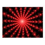 Fuegos artificiales rojos - diseño del fractal postal