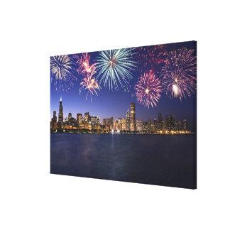Fuegos artificiales sobre el horizonte 2 de Chicag Lona Envuelta Para Galerias