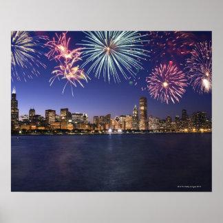 Fuegos artificiales sobre el horizonte 2 de Chicag Póster