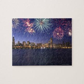 Fuegos artificiales sobre el horizonte 2 de puzzle con fotos