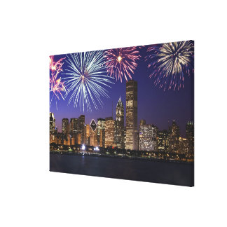 Fuegos artificiales sobre el horizonte de Chicago Impresiones En Lona