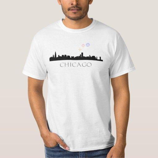 Fuegos artificiales sobre las camisetas del remeras