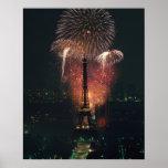 Fuegos artificiales, torre Eiffel, París, Francia Posters