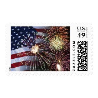 Fuegos artificiales y bandera americana