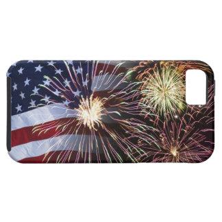 Fuegos artificiales y bandera americana iPhone 5 funda