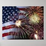 Fuegos artificiales y bandera americana impresiones