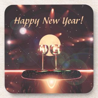 Fuegos artificiales y Champán del Año Nuevo Posavasos