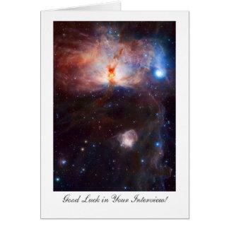 Fuegos de la nebulosa de la llama - buena suerte tarjeta de felicitación