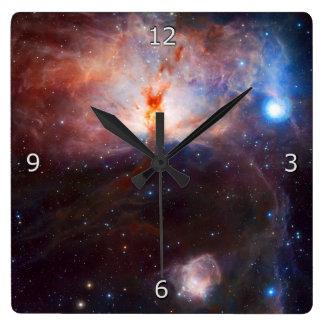 Fuegos de la nebulosa de la llama reloj cuadrado
