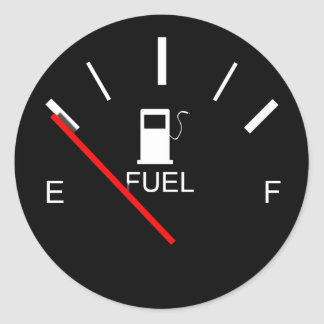 FUEL GAUGE EMPTY FULL BLACK WHITE RED TRAVEL CLASSIC ROUND STICKER