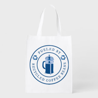 Fueled by Recycled Coffee Beans Round Badge - Blue Grocery Bag