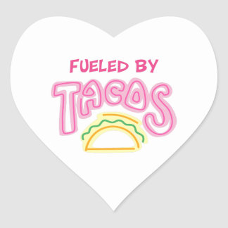 Fueled By Tacos Heart Sticker