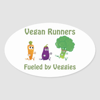 Fueled by Veggies Oval Stickers