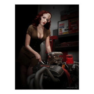 FuelFoto - Hot Rod Shop Pin Up Mechanic Poster
