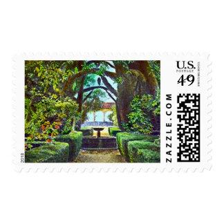 Fuente 1915 del jardín timbre postal