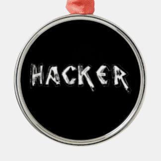 Fuente áspera del pirata informático de lujo adorno redondo plateado