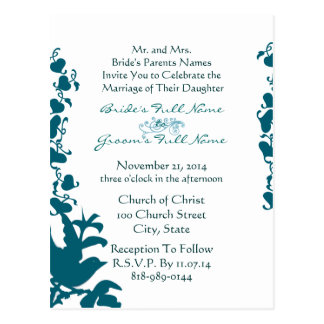Fuente azul del mar de la invitación del boda del  tarjetas postales