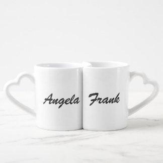 Fuente blanco y negro personalizada del lunar taza para enamorados