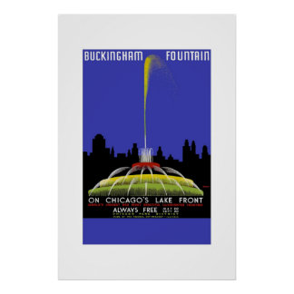 Fuente Chicago de Buckingham del poster del viaje