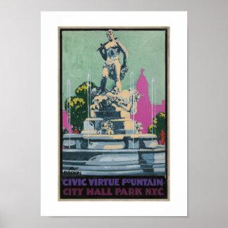 Fuente cívica de la virtud del vintage póster