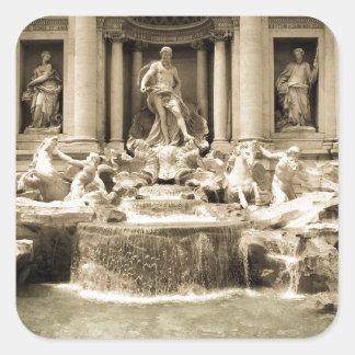 Fuente clásica del Trevi, Roma Pegatina Cuadradas