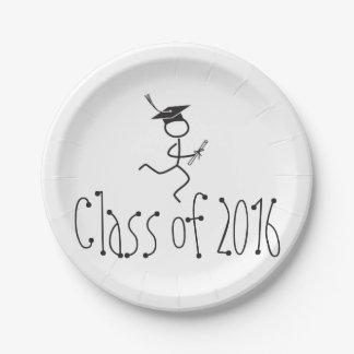 Fuente corriente 2016 del fiesta del graduado del plato de papel de 7 pulgadas