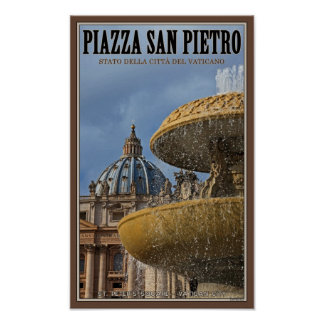 Fuente cuadrada de la Ciudad del Vaticano - St Pet Posters