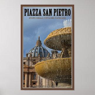 Fuente cuadrada de la Ciudad del Vaticano - St Pet Póster