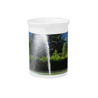 Fuente de agua con el fondo de la montaña jarras de beber