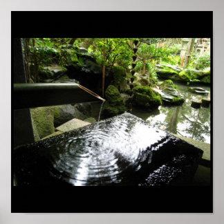 Fuente de bambú, imágenes de Japón Póster