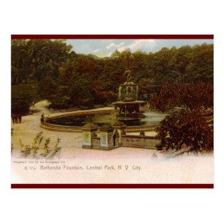 Fuente de Bethesda, Central Park, Nueva York Vin Tarjeta Postal