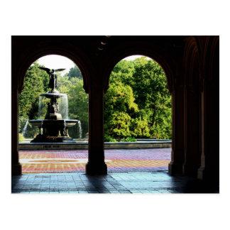 Fuente de Bethesda en foto del Central Park Tarjeta Postal