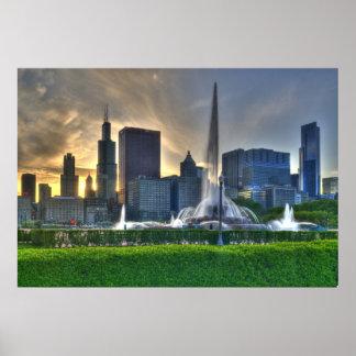 Fuente de Buckingham Chicago poster brillante