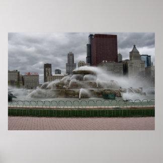 Fuente de Buckingham en Chicago en un día ventoso Impresiones
