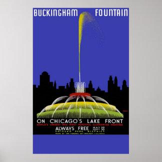 Fuente de Buckingham en el frente del lago chicago Impresiones